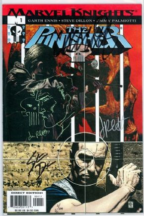 Punisher #1 Dynamic Forces Signed x3 Remarked Ennis Dillon Palmiotti Sketch DF COA Marvel comic book